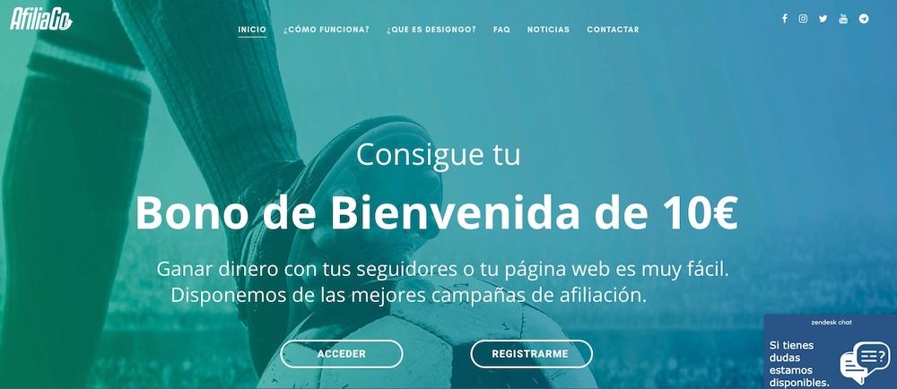 Portada de la web AfiliaGo